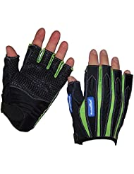 madlad Pro mitad Dedos Guantes, color negro/verde lima, tamaño xx-large