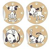 24 lustige Comic Hunde Aufkleber | Sticker, MATTE universal Papieraufkleber für Einladungen, Geschenke, Etiketten für Tischdeko, Pakete, Briefe und mehr (ø 45mm