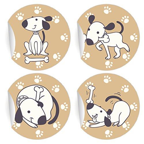 5 x 24 lustige Comic Hunde Aufkleber | Sticker, MATTE Papieraufkleber für Einladungen, Geschenke, Etiketten für Tischdeko, Pakete, Briefe und mehr (ø 45mm; 6 x 4 Motive)