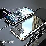 Samsung Galaxy Note 9 Hülle, [Neuste Design] [Magnetische Adsorption Technologie] [Metallrahmen] Ultra Dünn Glas-Telefon-Kasten Schutzhülle Anti-Kratzer Handyhülle für Samsung Galaxy Note 9 - Silber