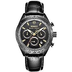 Schwarz Gold Herren Fashion funktionelle Wasserdicht Sports Armbanduhr Leder Saphir Quarz Armbanduhr
