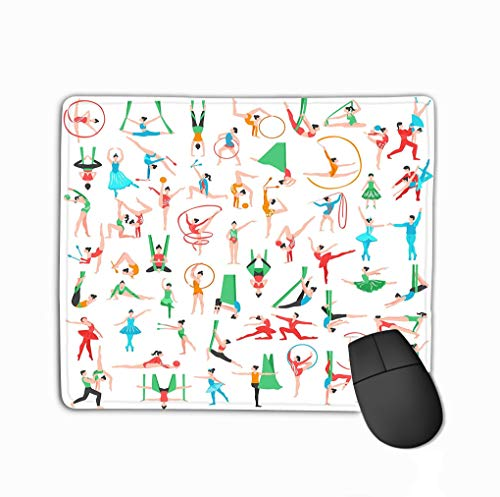 Non-Slip Rubber Mousepad Gaming Mouse Pad 11.81 X 9.84 Inch Gymnastics Ballet Big Set Including Dancers Trapeze Artists acrobats Girls Sports Tools Isolated Modern - Trapez-slip