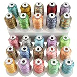 New brothread 25 Multicolore Polyester Fil Machine à Broder pour Brother/Babylock/Janome/Singer/Kenmore Machine 500M (550Y) / Bobine...