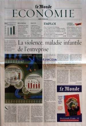 MONDE ECONOMIE (LE) du 11/02/2003 - BOUSSOLE - LA MALAISIE EST SORTIE DE LA CRISE FINANCIERE ASIATIQUE PAR SES PROPRES MOYENS FOCUS - L'AGGRAVATION DE LA CRISE EN COTE D'IVOIRE CONTRAINT EXPATRIES ET ENTREPRISES A REFLUER VERS LES PAYS VOISINS EMPLOI - FACE A LA MONTEE DU CHOMAGE, LE PLAN D'AIDE AU RETOUR A L'EMPLOI (PARE) NE SEMBLE PAS TENIR SES PROMESSES - 173 000 PERSONNES SEULEMENT ONT BENEFICIE, DANS CE CADRE, D'UNE FORMATION - EN RHONE-ALPES, LES PME MUTUALISENT LEURS BESOINS EN par Collectif