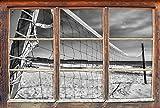 Stil.Zeit Monocrome, Rete da pallavolo sulla SpiaggiaFinestre in 3D guardano, Muro o Adesivo Porta Misure: 92x62cm, autoadesivi della Parete, Autoadesivo della Parete, Decorazione della Par