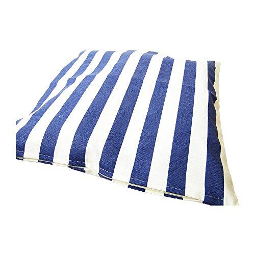 Deko Kissen 40×40 cm – gestreift St. Tropez – maritimes Kissen, Kissen maritim, Bootskissen, Gartenkissen, Stuhlkissen, Sofakissen (Blau) - 4