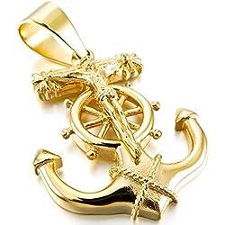 MunkiMix Acero Inoxidable Colgante Collar Oro Dorado Tono Ancla Náutico Gobierno Rueda Jesús Cristo Crucifijo Cruzar Cruz Hombre ,Cadena 58cm