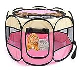 Xiaoyu tragbare Haustier Laufstall Käfig, Indoor/Outdoor Hund Kiste, geeignet für Hunde/Katzen/Kleintiere, beige-rosa, S