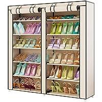 UDEAR Shoes Rack Organizador de Tela de Zapatos, Zapatero 7 Pisos con Resistente al Polvo Beige