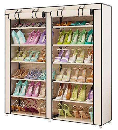 UDEAR Shoes Rack Organizador de Tela de Zapatos, Zapatero 7 Pisos con Resistente al Polvo