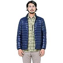 HUKOER Chaqueta de pluma de Invierno plumón para hombres Compresible Ligero Acolchada terciopelo de pato abrigo chaqueta abajo (Azul, XXL)