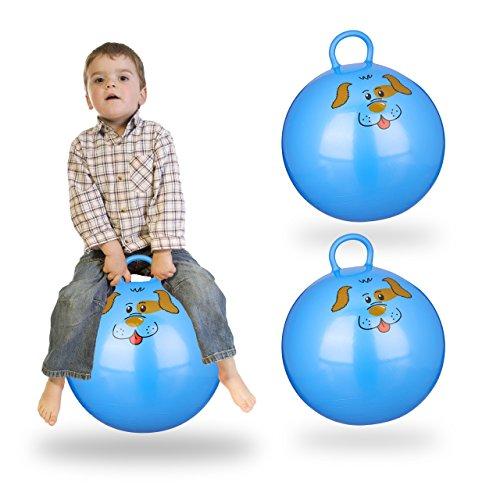Relaxdays 3X Hüpfball Kinder, Hund, mit Griff, für Drinnen und Draußen, mit Tier-Motiv, Weich, 45 cm Durchmesser, Blau