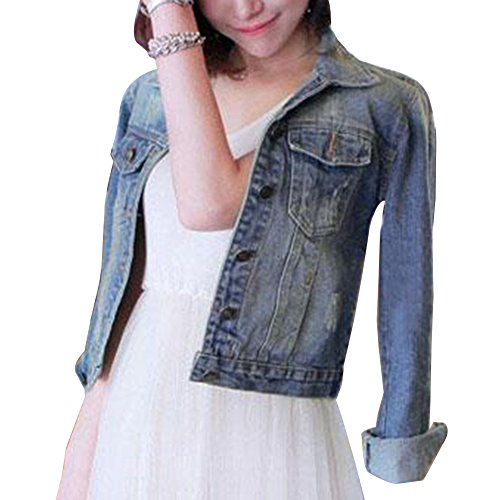 Donna Giacca In Jeans Basic Jeans Corto Giacchetto Giubbino Bleu