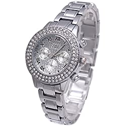 Sheli Platinum All Silver Stainless Steel Diamonds Accented Analog Quartz Bangle Watch for Women Wedding