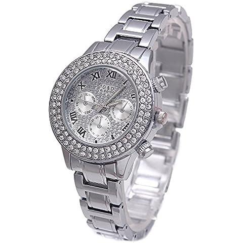 Sheli Platinum todos los reloj de pulsera de diamantes acentuado con cronógrafo cuarzo de acero inoxidable de plata para las mujeres