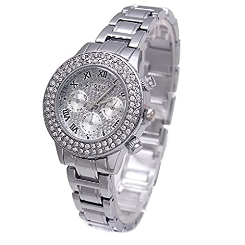 Sheli Platinum All Silver Stainless Steel Diamonds Accented Analog Quartz