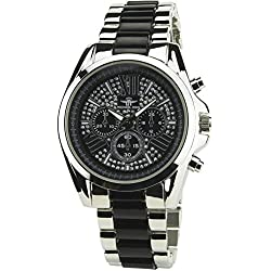 MICHAEL JOHN -Women's Watch Silver Quartz Black case Steel Analogue Display Band Steel