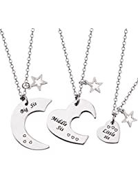 Ensianth 3 Pieces Big Sis Middle Sis Little Sis Necklace Jewellery Gig Sis Little Sis Necklace Set Gig Sis Little Sis Bracelet with Star Charm Gift for Sister