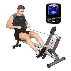 HAMMER Rudergerät RX1 für zu Hause – klappbare Rudermaschine mit Magnetbremssystem, kugelgelagertem Sitz, bis 110 kg Nutzergewicht und integriertem Pulsempfänger für Brustgurte