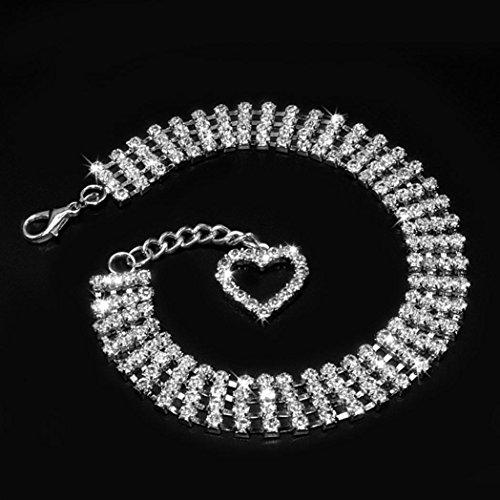 Bling Strass Halsbänder Puppy Halskette mit Herz Charm Cute für kleine Hunde
