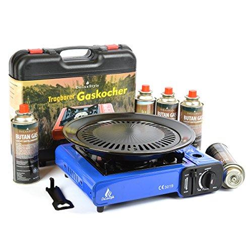 Camping Gaskocher 2,5KW (Blau) + Koffer + Grillplatte + 4 Kartuschen von DeLuxStyle