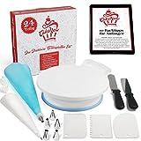 CAKENOW Drehbare Tortenplatte - Set mit 24 teiligem Zubehör - Tortenständer drehbar mit Edelstahl Backzubehör - Drehbarer Drehteller für Torten und Kuchen