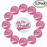 Lelengder JGA Buttons [ 12 Set ] 1 x Die Braut 75mm + 11 x Team Braut 55mm für Junggesellinnenabschied Accessoires und Hochzeitsfeier