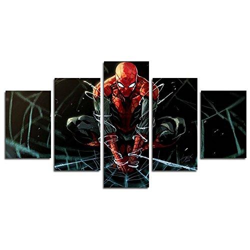 YspgArt66 Impresión Lienzo Pintura, 5 Piezas Spiderman Superhéroe Lienzo Pintura de Pared para Hogar Salón Oficina Decoración Decoración Regalo (sin Marco)