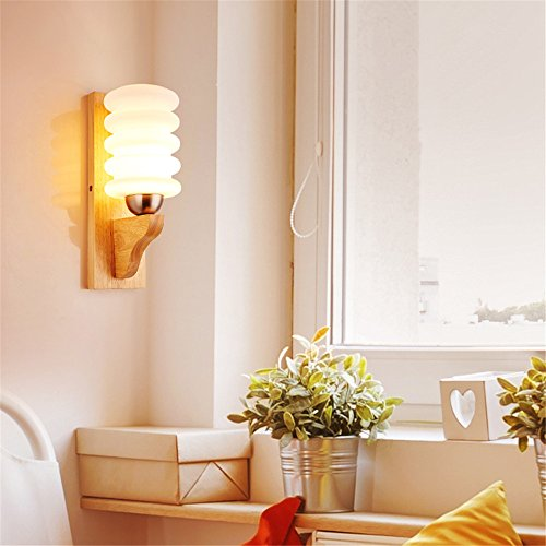BOOTU LED Wandleuchte nach oben und unten Wandleuchten Nachttischlampe Wandleuchte Schlafzimmer über Wohnzimmer, Holz Glas LED in Japanisch