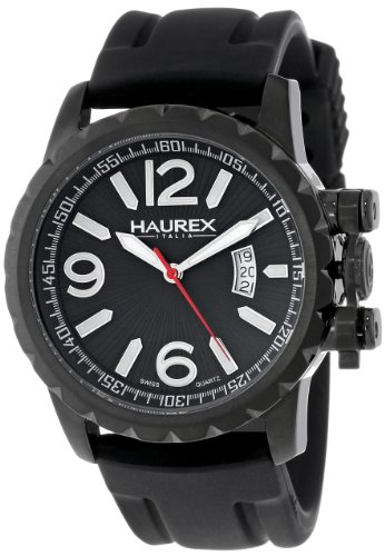 Haurex Italy Men's 3N502UNN Aeron Black Ion-Plated Coated Stainless Steel Black Rubber Luminous Date Watch