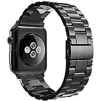 Simpeak Compatible Apple Watch Series 3 / Series 4 / Series 2 / Series 1 Correa 42mm de Acero Inoxidable Reemplazo de Banda de la Muñeca con Metal Corchete para Apple Watch Todos los Modelos 42mm,Negro