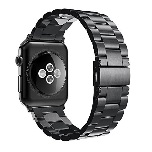 Simpeak Correa Compatible con Apple Watch Series 5/ Series 4/Series3/ Series 2/ Series 1 Correa 38mm de Acero Inoxidable Reemplazo de Banda Compatible con iWatch Todos los Modelos 38mm, Negro