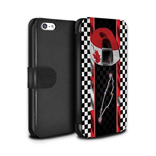 Stuff4 Coque/Etui/Housse Cuir PU Case/Cover pour Apple iPhone 5C / Espagne/Catalogne Design / F1 Piste Drapeau Collection Canada/Montréal