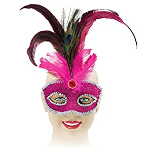 Pink Eyemask With Tall Peacock Feather (disfraz)