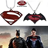 (2 Pcs COMBO SET) - SUPERMAN LOGO (RED) & DAWN OF JUSTICE LOGO (BLACK/MAROON) IMPORTED METAL PENDANTS. LADY HAWK DESIGNER SERIES 2018. ❤ ALSO CHECK FOR LATEST ARRIVALS - NOW ON SALE IN AMAZON - RINGS - KEYCHAINS - NECKLACE - BRACELET & T SH