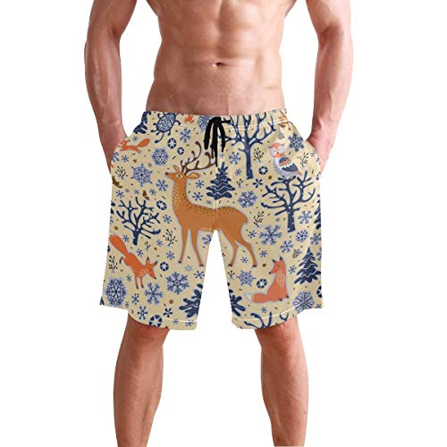 Men's Cool Deer Fox Animal Print Beach Shorts Hot Summer Swim Trunks Sports Running Bathing Suits with Mesh Lining XXL -