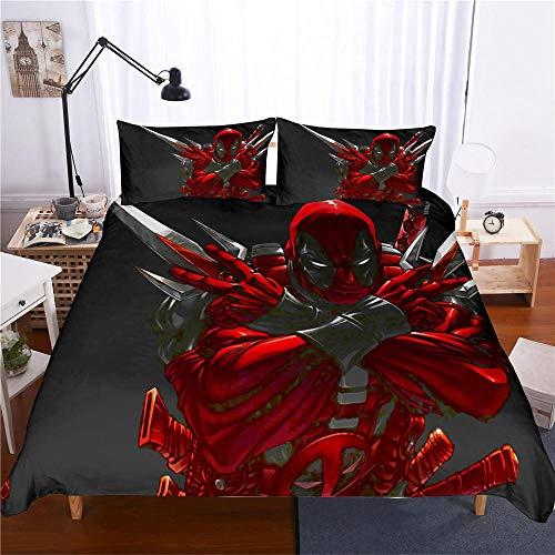bed linings Bettwäsche-Set 3D Marvel Hero Deadpool 3-teiliges Set Bettwäsche 100% Mikrofaser Für Geschenke (1 Bettbezug + 2 Kissenbezüge) B-Queen(228cm*228cm)