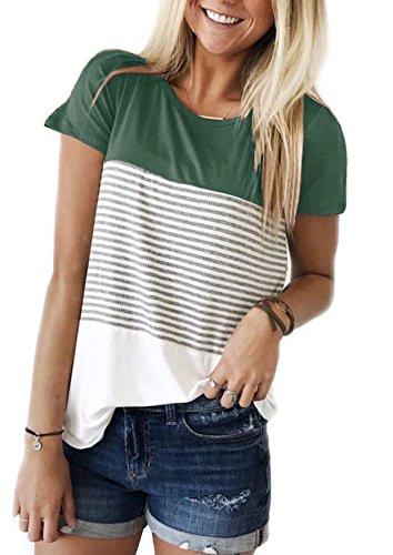 Yidarton Damen Sommer T-Shirt Casual Streifen Patchwork Kurzarm Oberteil Tops Bluse Shirt (XX-large, Grün)