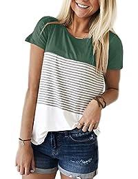 9e0f212e6bac3b Yidarton Damen Sommer T-Shirt Casual Streifen Patchwork Kurzarm Oberteil  Tops Bluse Shirt