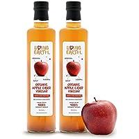 """1L - Living Earth - Vinaigre de cidre de pomme organique, 1L, avec""""la mère"""", non filtré, non raffiné et non pasteurisé. Très riche en minéraux, vitamines et enzymes."""