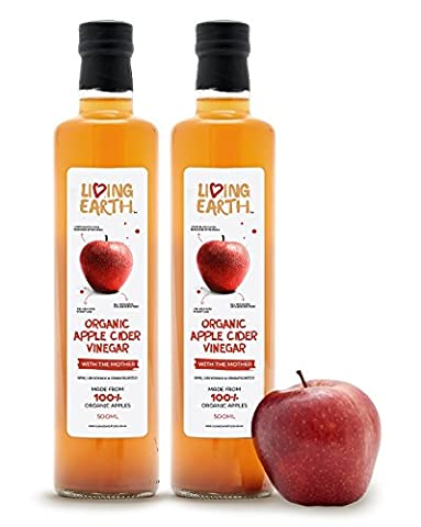 Living Earth Organic Apple Cider Vinegar, with The Mother, 1 Litre . RAW, UNFILTERED & (Mela Biologica Sidro)