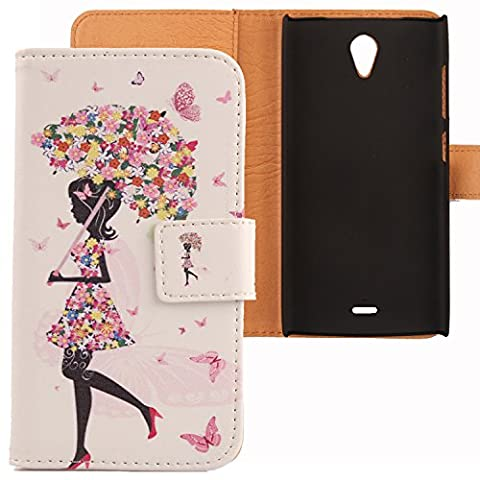 Lankashi PU Leather Etui Flip Case Housse Cuir Cover Coque Protection Pour Orange Nura Umbrella Girl Design