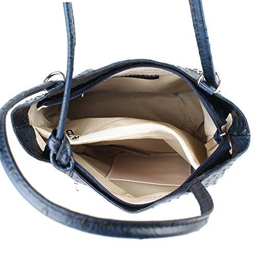 Borsa a Spalla da Donna Stampa Struzzo in Vera Pelle Made in Italy Chicca Borse 28x30x9 Cm Blu scuro