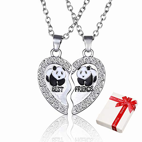 2pezzi ciondolo a catena da donna in argento con strass per coppia coppie,collane di amicizia cuore best friends con incisione panda,partner di gioielli per i migliori amici,amante e regali di coppia