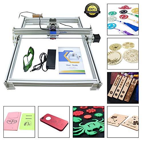 HUKOER 40X50 CM DIY CNC Laser Engraver Kits 12 V USB Desktop Laser Graviermaschine, einstellbare Laser Power Drucker Carving & Schneiden Holz Kunststoff Hörner Brieftasche Telefon Shell (500MW) -