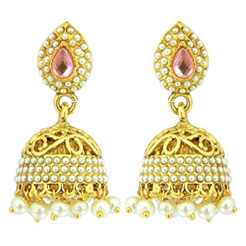 Diwali-Gifts-Peora-Cut-Work-Traditional-Jhumkis-For-Girls-Women-Pink