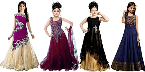 Fabmaza Kids Girlswear Purpel,Wine,Black & Blue Velvet & Net Embroided Semi Stitched Lehenga Choli (gowns, salwar suit, dresses for girls party wear new collection low price)