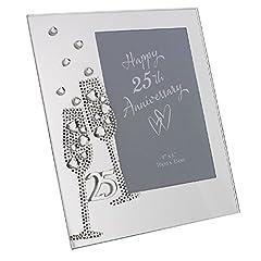"""Idea Regalo - Widdop Bingham & Co Ltd WG45425 - Portafoto in vetro, colore: argento, motivo: nozze d'argento, dimensione 7,5"""" x 6,5"""""""