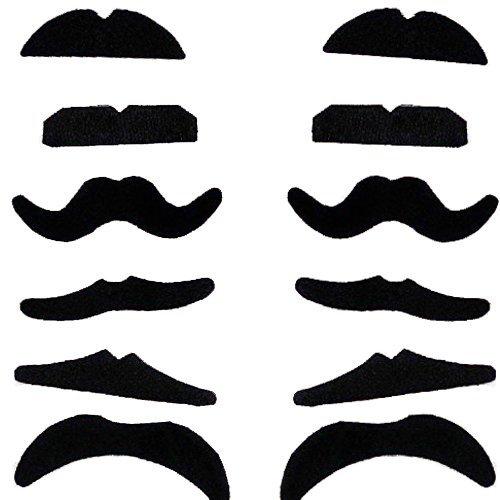 Perücken Fake Bärte Und (Demarkt 12 Different Beardtypes Dressing Beards Selbstklebende Falsche Schnurrbärte, Schwarz Schnurrbärte für Karneval Kostüm)