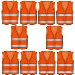 Gilet de Securite Infroissable Orange Fluo | Lavable en Machine | Degres KFZ EN471 - Lot de 10 Gilets de Securite Reflechissants a 360